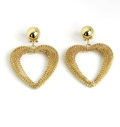 Rad gold mesh earrings to make a statement or dress up any outfit this summer. Looks awesome with a 90's body con dress and white mules! Treat yourself or someone special to these!