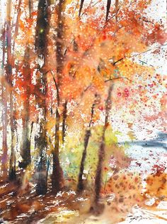 New England Landcape limited edition of 50 fine art giclee prints from my original watercolor Watercolor Trees, Watercolor Landscape, Landscape Paintings, Watercolor Paintings, Watercolor Paper, Fall Paintings, Watercolours, Tree Art, Online Art Gallery