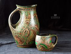 Hand painted vases with the indian mehendi ornament by NikaEthnica