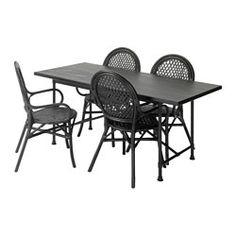IKEA - RYGGESTAD/KARPALUND / ÄLMSTA, Bord og 4 stole, Gi'r en naturlig og levende følelse af træ, fordi knaster og andre mærker kan ses på overfladen.Bordpladen har forborede huller til understellet, så bordet er nemt at samle.