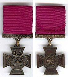 Front & Back view of Hampden Zane Churchill Cockburn's Victoria Cross.