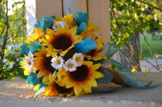 Sunflower Turquoise Bridal Bouquet Silk Wedding by MyDayBouquet, $89.00