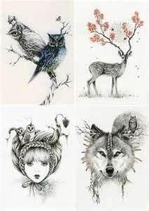 woodland tattoos, deer, owl