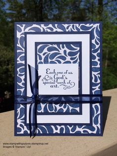 This is my favorite paper from the Birthday Bash DSP, paired with Night of Navy cardstock and ink and a sentiment from the Trust God stamp set.  www.stampwithgaylynn.stampinup.net