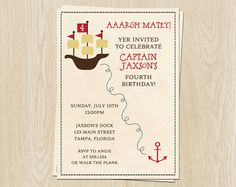 Pirate Birthday Invitations, Birthday Party Invites, Ships Ahoy Matey, Boys Red and Black, Aarggh Set of 10 Printed with Envelopes by TheInviteLadyShop on Etsy https://www.etsy.com/listing/92808758/pirate-birthday-invitations-birthday
