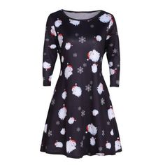 12559032aa3fb 1Ps Women Printed Plus Size Long Sleeve Round Neck Casual Christmas Snowman  Elk Autumn Winter Dress C XXL