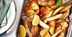 This delicious chicken bake with creamy haloumi and crunchy potato wedges makes a hearty weeknight meal.