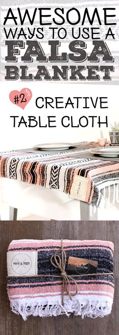 Did you know you could repurpose a mexican blanket as a table runner or fun table cloth? These make great accent pieces at parties. // La Jara Mexican Falsa Blanket by Mntn & Moon