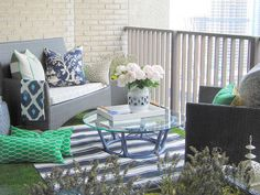 The Reveal: DesignMaze's lush balcony retreat. Tim Lam, a Toronto design enthusiast and founder of DesignMaze Interiors, turned his 100 square feet of balcony space into a fresh space for lounging and afternoon-into-evening wine and snacks with friends. #condo #balcony #design