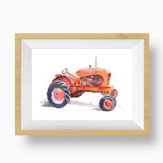 Delight someone who loves rustic decor with this old red tractor wall art print from my original painting of a 1948 Allis Chalmers tractor! See other tractor prints at little splashes of color! Tractor Decor, Red Tractor, Tractors, Watercolor Texture, Watercolor Print, Watercolor Paintings, Watercolors, Pencil Texture, Paper Texture
