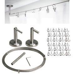 IKEA DIGNITET Stainless Steel Curtain/Drape Wire System + 24 RIKTIG Hook w/ Clip #IKEA #Contemporary