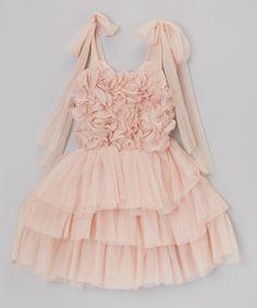 Nude Rosette & Ruffle Tie Dress