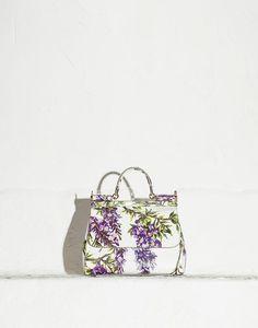MEDIUM DAUPHINE WISTERIA PRINT SICILY BAG - Medium leather bags - Dolce&Gabbana - Summer 2015