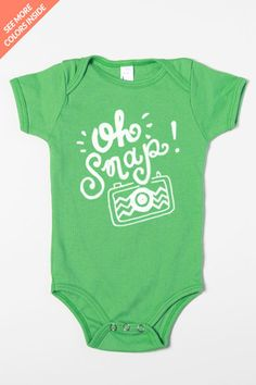 Oh Snap camera! Baby onesie for photographers kiddos