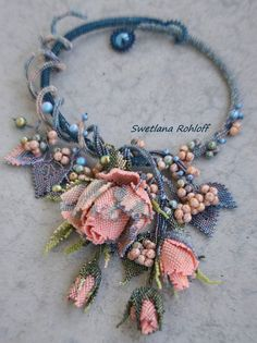 I made photocollection of beautiful spring jewelry with beaded flowers. Every piece is original and