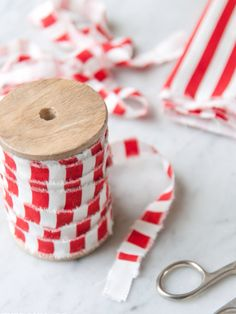 Yards of ribbon from inches of striped fabric. Clever. (Looks like Ikea fabric)