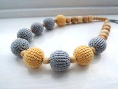 Grey Yellow Crochet nursing necklace Breastfeeding от ColoredYarn