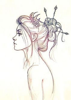 pretty hair sketch. ✤ || CHARACTER DESIGN REFERENCES | キャラクターデザイン • Find more at https://www.facebook.com/CharacterDesignReferences: