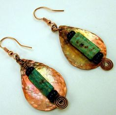 Forged Copper African Turquoise Handmade Original Earrings Spirals