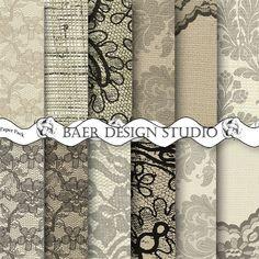 DIGITAL PAPER VINTAGE:Lace Digital Paper Burlap and Lace