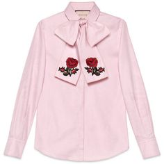 Gucci Embroidered Oxford Scarf Shirt (5.520 DKK) ❤ liked on Polyvore featuring tops, ready to wear, tops & shirts, women, cotton shirts, pink oxfords, pink top, cotton oxford shirt and embroidered shirts