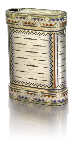 Parcel gilt silver and champleve enamel cigarette case, St. Petersburg, Russia c. 1895