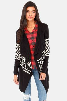 Southwest Side Story Cream and Black Cardigan Sweater at LuLus.com! love this plaid and pattern combo! #lulus #holidaywear