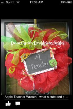 Teacher Door Candy, Apple shaped Wreath with a real chalkboard so you can personalize your way! Follow me on Facebook
