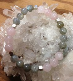 Labradorite and Rose Quartz Beaded bracelet with silver accents by BTUbythesea on Etsy