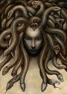 Dark Medusa by Markelli monster beast creature animal Medusa Kunst, Medusa Art, Medusa Gorgon, Medusa Tattoo, Medusa Drawing, Snake Tattoo, Mythological Creatures, Fantasy Creatures, Mythical Creatures