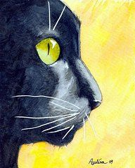 Cat Art Paintings - Black Cat Profile on Gold  by Dottie Dracos