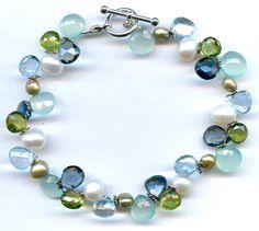 Blue Topaz And Multi Gem Silver Bracelet FD559. $107.00, via Etsy.