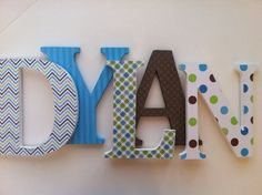 Letras de madera para cuarto de niños azul verde por SummerOlivias