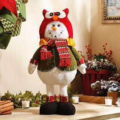 Plush Snowman with Owl Hat