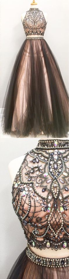 Pretty Prom Dress,High-Neck Prom Dress,Beading Prom Dress,Tulle Prom Dress More