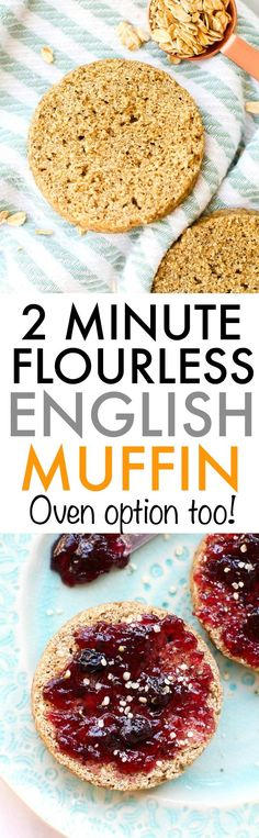 These 2 minute flourless English muffins will satisfy ALL bread cravings, with a healthy twist! Made with no yeast, oil or flour, this two minute microwave English muffin is naturally gluten free, veg Gluten Free Oats, Gluten Free Baking, Gluten Free Recipes, Baking Recipes, Whole Food Recipes, Vegan Recipes, Dairy Free, Grain Free, Flourless Muffins