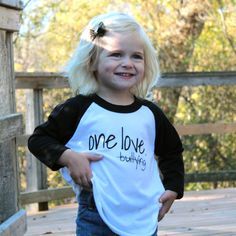 Kids / Toddlers Black and White Unisex Baseball Tee  - One Love by twolittleladybugs15 on Etsy