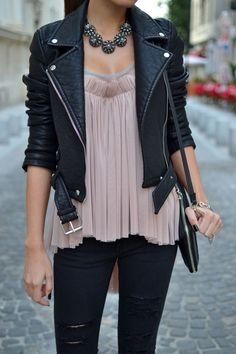 Silky top. Black leather jacket. Black jeans.