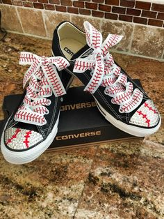 Baseball themed blinged converse by SIMPLYFROSTED on Etsy