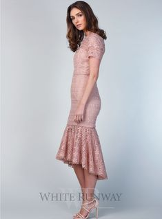 A stunning midi length dress by Love Honor. A high neck style featuring short sleeves and a sheer trumpet hemline. Perfect as a bridal shower dress, bridesmaid dress or engagement party dress. Kebaya Brokat, Dress Brokat, Engagement Party Dresses, Bridesmaids, Bridesmaid Dresses, Short Sleeves, Short Sleeve Dresses, Fashion Dresses, Women's Fashion