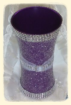 Check out this item in my Etsy shop https://www.etsy.com/listing/235438635/purple-glitter-vase-for-quinceanera-or