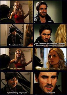 Whenever Emma answers her door her life changes! Emma, Henry, and Hook - Once Upon a Time