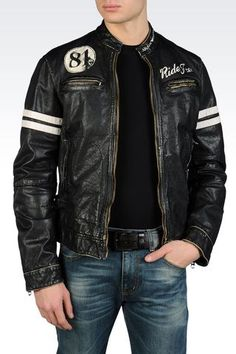 LEATHER BIKER JACKET WITH VINTAGE RIDE FREE PRINT: Leather jackets Men by Armani - 1