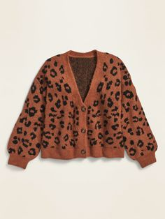 Printed Button-Front Cropped Cardigan for Girls | Old Navy Leopard Cardigan, Cropped Cardigan, Old Navy Girls, Shop Old Navy, Clothing Items, Rib Knit, Fall Outfits, Men Sweater, Knitting