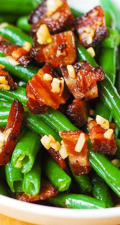 "Garlic and ""Bacon"" Green Beans sauteed in olive oil and butter. I will use faux bacon. Side Recipes, Vegetable Recipes, Green Beans With Bacon, Sauces, Cooking Recipes, Healthy Recipes, Healthy Eats, Green Bean Recipes, Sandwiches"