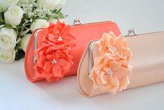 Peach / Living Coral  Bridesmaid Clutch / Bridal clutch by Vanijja, $27.00