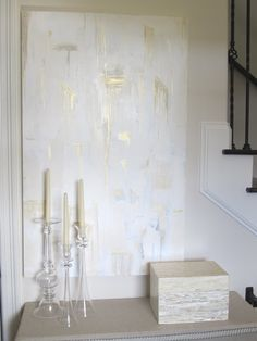 Large Original Gold White Cream Gray Abstract by CRESCENTandGOLD, $300.00