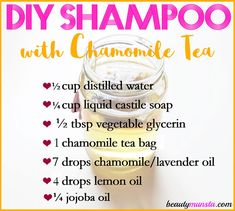Make yourself a nice and soothing DIY chamomile shampoo for your scalp and hair! Diy Shampoo, Homemade Shampoo, Organic Shampoo, Natural Shampoo, Shampoo Bar, Homemade Conditioner, Homemade Deodorant, Natural Hair, Shampooing Bio