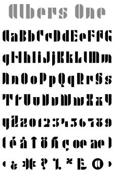 Kombinationschrift by Joseph Albers: Created when he was at the Bauhaus, his Kombinationschrift alphabets exemplify the school's ethos. Using 10 basic shapes based on the circle and the rectangle, he created a system of lettering that was meant to be efficient, easy to learn, and inexpensive to produce. These 10 shapes in combination could form any letter or number. The letterforms of this computer version were taken directly from Albers' drawings and notes.