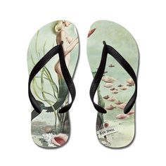 Zhiqing Retro Pin Up 1950s Mermaid with School of Fish Unisex Rubber Flip Flops Adults M Pink *** Continue to the product at the image link.